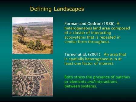 Defining Landscapes Forman and Godron (1986): A