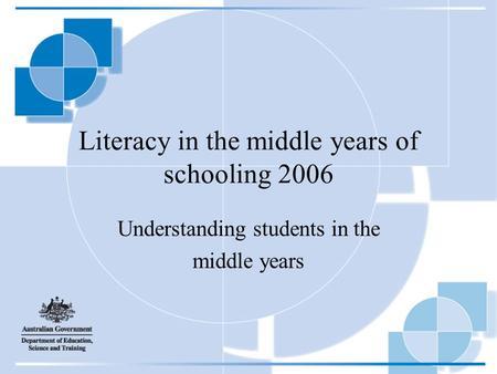 Literacy in the middle years of schooling 2006 Understanding students in the middle years.