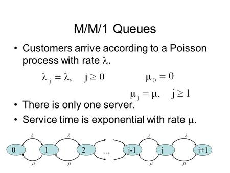M/M/1 Queues Customers arrive according to a Poisson process with rate. There is only one server. Service time is exponential with rate . 0 12 j-1 jj+1...