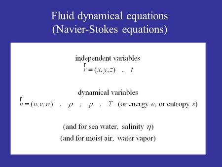 Fluid dynamical equations (Navier-Stokes equations)