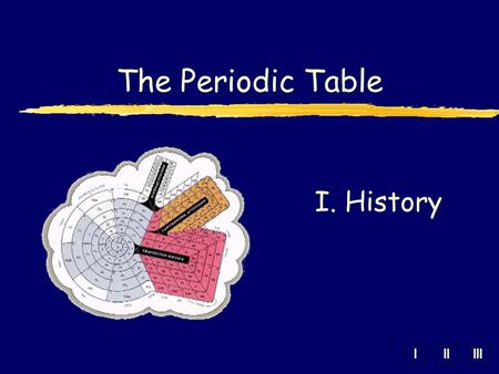 IIIIII The Periodic Table I. History. A. Mendeleev zDmitri Mendeleev (1869, Russian) yOrganized elements by increasing atomic mass. yElements with similar.
