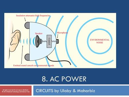 8. AC POWER CIRCUITS by Ulaby & Maharbiz All rights reserved. Do not copy or distribute. © 2013 National Technology and Science Press.