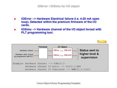 Unicos Object Library Programming Templates IOError / IOSimu for I/O object  IOError --> Hardware Electrical failure (i.e. 4-20 mA open loop). Detected.