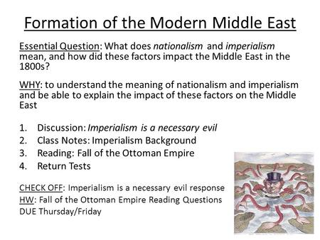 Formation of the Modern Middle East Essential Question: What does nationalism and imperialism mean, and how did these factors impact the Middle East in.