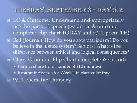  LO & Outcome: Understand and appropriately use the parts of speech (evidence & outcome: completed flip chart TODAY and 9/11 poem TH)  Bell (Journal):