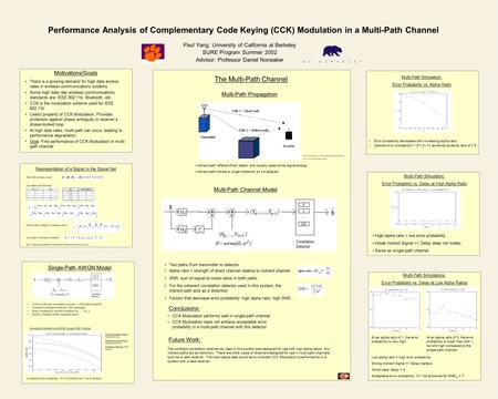 Performance Analysis of Complementary Code Keying (CCK) Modulation in a Multi-Path Channel Paul Yang, University of California at Berkeley SURE Program.