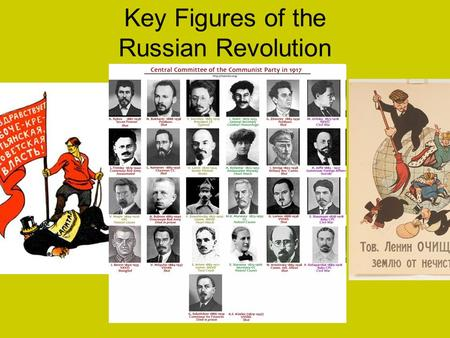 Key Figures of the Russian Revolution. Alexander Kerensky Prime Minister of the Russian Provisional Government Supported Russia's involvement in World.