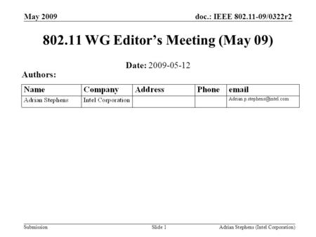 Submission doc.: IEEE 802.11-09/0322r2May 2009 Adrian Stephens (Intel Corporation)Slide 1 802.11 WG Editor's Meeting (May 09) Date: 2009-05-12 Authors: