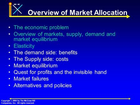 MBMC Copyright c 2004 by The McGraw-Hill Companies, Inc. All rights reserved. Overview of Market Allocation The economic problem Overview of markets, supply,