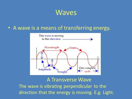 Waves A wave is a means of transferring energy. A Transverse Wave The wave is vibrating perpendicular to the direction that the energy is moving. E.g.