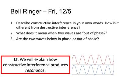 Bell Ringer – Fri, 12/5 1.Describe constructive interference in your own words. How is it different from destructive interference? 2.What does it mean.