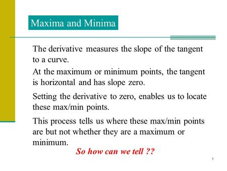 1 Maxima and Minima The derivative measures the slope of the tangent to a curve. At the maximum or minimum points, the tangent is horizontal and has slope.