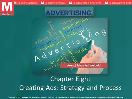 Chapter Eight Creating Ads: Strategy and Process Arens|Schaefer|Weigold Copyright © 2015 McGraw-Hill Education. All rights reserved. No reproduction or.