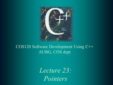 Lecture 23: Pointers. 2 Lecture Contents: t Pointers and addresses t Pointers and function arguments t Pointers and arrays t Pointer arrays t Demo programs.