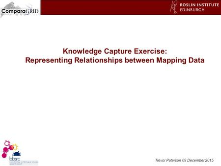 Trevor Paterson 09 December 2015 Knowledge Capture Exercise: Representing Relationships between Mapping Data.