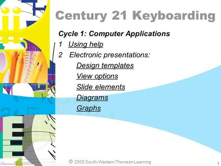 © 2005 South-Western/Thomson Learning Century 21 Keyboarding Cycle 1: Computer Applications 1 Using helpUsing help 2Electronic presentations: Design templates.
