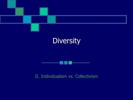Diversity II. Individualism vs. Collectivism. Individualism vs. Collectivism Definition. Implications. Behavior. View of Self. Common emotions. Approach.