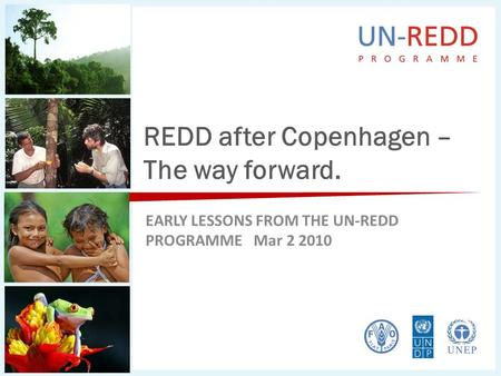 REDD after Copenhagen – The way forward. EARLY LESSONS FROM THE UN-REDD PROGRAMME Mar 2 2010.