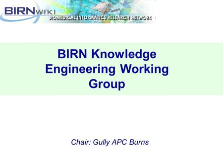 BIRN Knowledge Engineering Working Group Chair: Gully APC Burns.