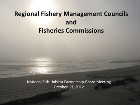 Regional Fishery Management Councils and Fisheries Commissions National Fish Habitat Partnership Board Meeting October 17, 2012 1.