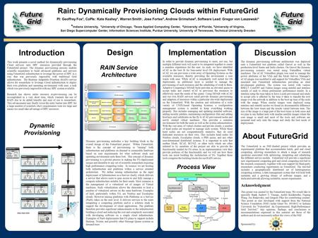 Design Discussion Rain: Dynamically Provisioning Clouds within FutureGrid PI: Geoffrey Fox*, CoPIs: Kate Keahey +, Warren Smith -, Jose Fortes #, Andrew.