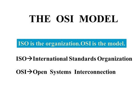 THE OSI MODEL ISO is the organization.OSI is the model. ISO  International Standards Organization OSI  Open Systems Interconnection.