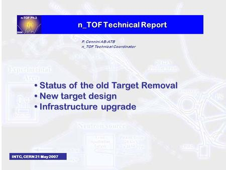 N_TOF Technical Report INTC, CERN 21 May 2007 P. Cennini AB-ATB n_TOF Technical Coordinator Status of the old Target Removal Status of the old Target Removal.