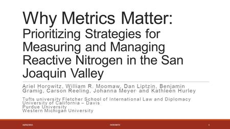 Why Metrics Matter: Prioritizing Strategies for Measuring and Managing Reactive Nitrogen in the San Joaquin Valley Ariel Horowitz, William R. Moomaw, Dan.
