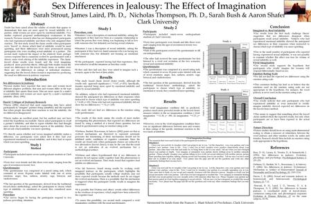Sex Differences in Jealousy: The Effect of Imagination Sarah Strout, James Laird, Ph. D., Nicholas Thompson, Ph. D., Sarah Bush & Aaron Shafer Study 1.
