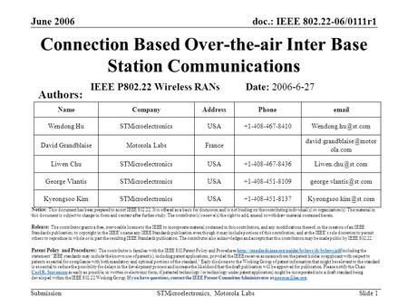 Doc.: IEEE 802.22-06/0111r1 Submission June 2006 STMicroelectronics, Motorola Labs Slide 1 Connection Based Over-the-air Inter Base Station Communications.
