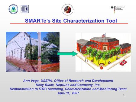 1 SMARTe's Site Characterization Tool Ann Vega, USEPA, Office of Research and Development Kelly Black, Neptune and Company, Inc. Demonstration to ITRC.