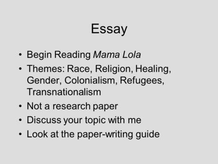 Essay Begin Reading Mama Lola