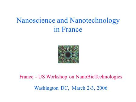 Nanoscience and Nanotechnology in France France - US Workshop on NanoBioTechnologies Washington DC, March 2-3, 2006.