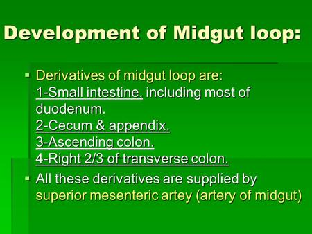 Development of Midgut loop:  Derivatives of midgut loop are: 1-Small intestine, including most of duodenum. 2-Cecum & appendix. 3-Ascending colon. 4-Right.