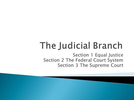 Section 1 Equal Justice Section 2 The Federal Court System Section 3 The Supreme Court.