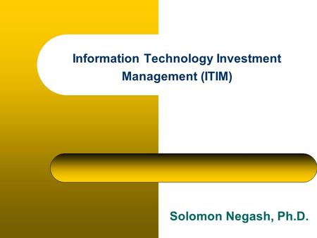 Information Technology Investment Management (ITIM) Solomon Negash, Ph.D.