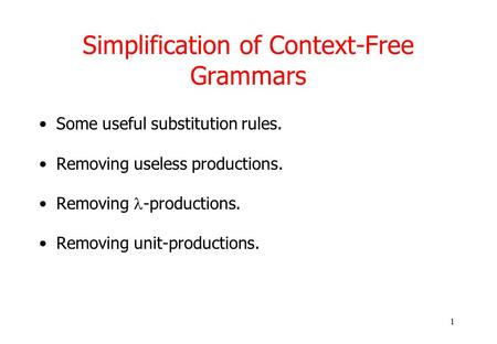 1 Simplification of Context-Free Grammars Some useful substitution rules. Removing useless productions. Removing -productions. Removing unit-productions.