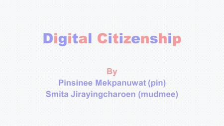 Digital CitizenshipDigital Citizenship By Pinsinee Mekpanuwat (pin) Smita Jirayingcharoen (mudmee)