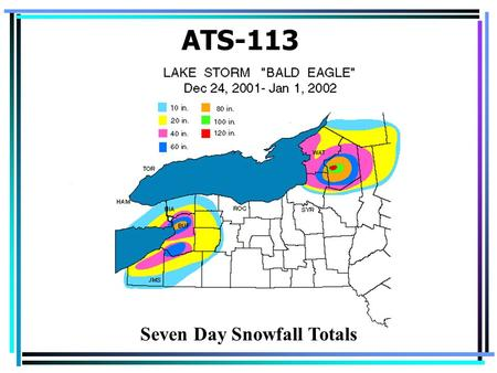 ATS-113 Seven Day Snowfall Totals. Fronts Arise because different air masses don't mix readily –When two air masses come in contact, they retain their.