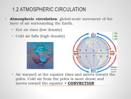 1.2 ATMOSPHERIC CIRCULATION Atmospheric circulation : global-scale movement of the layer of air surrounding the Earth. Hot air rises (low density) Cold.