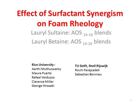 Effect of Surfactant Synergism on Foam Rheology Lauryl Sultaine: AOS 14-16 blends Lauryl Betaine: AOS 14-16 blends 1 Rice University : Aarthi Muthuswamy.