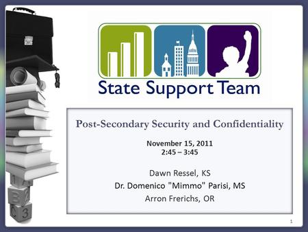 1 Post-Secondary Security and Confidentiality November 15, 2011 2:45 – 3:45 Dawn Ressel, KS Dr. Domenico Mimmo Parisi, MS Arron Frerichs, OR.