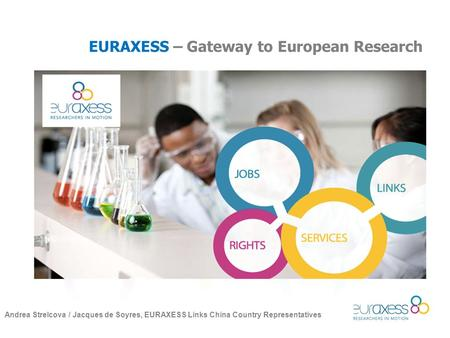 EURAXESS – Gateway to European Research Andrea Strelcova / Jacques de Soyres, EURAXESS Links China Country Representatives.