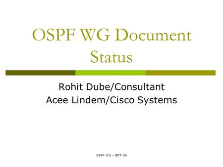 OSPF WG – IETF 66 OSPF WG Document Status Rohit Dube/Consultant Acee Lindem/Cisco Systems.