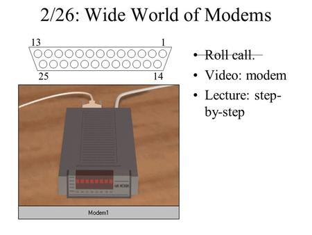 2/26: Wide World of Modems Roll call. Video: modem Lecture: step- by-step 113 2514.