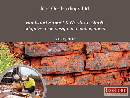 Iron Ore Holdings Ltd Buckland Project & Northern Quoll: adaptive mine design and management 30 July 2013 0.