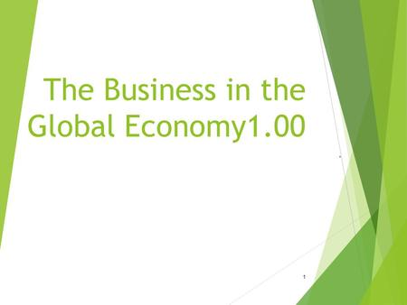 The Business in the Global Economy1.00. 1. Objective 1.01 Understand economic systems 2.