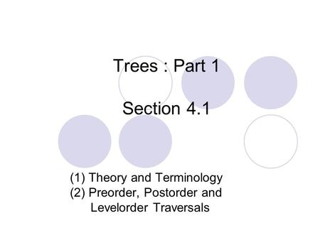 Trees : Part 1 Section 4.1 (1) Theory and Terminology (2) Preorder, Postorder and Levelorder Traversals.