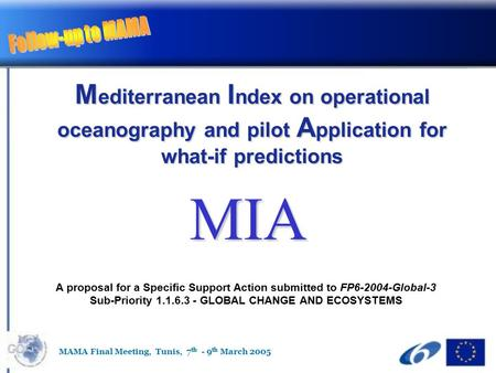 M editerranean I ndex on operational oceanography and pilot A pplication for what-if predictions A proposal for a Specific Support Action submitted to.