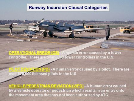 Runway Incursion Causal Categories OPERATIONAL ERROR (OE) - A human error caused by a tower controller. There are over 8000 tower controllers in the U.S.